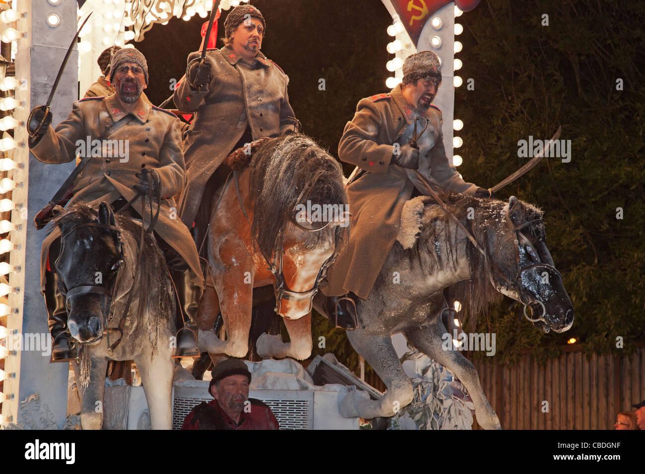 Closeup of Overthrow of the Tsar Portrait by Pentathlon Carnival Club. - Stock Image