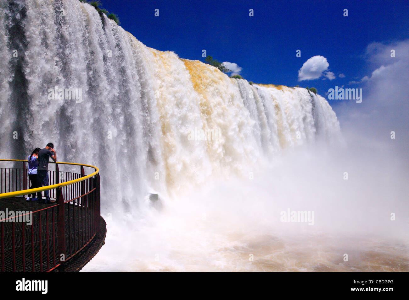 Iguazu falls at brasilian side. Along Iguazu river. Placed in the border of Argentina, and Brasil. - Stock Image