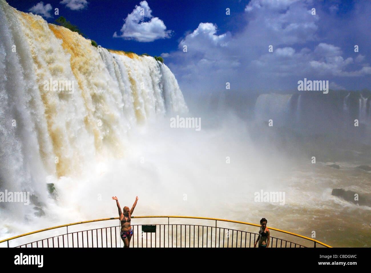 Iguazu falls, along Iguazu river. Placed in the border of Argentina, and Brasil. This is Brasilian side. - Stock Image