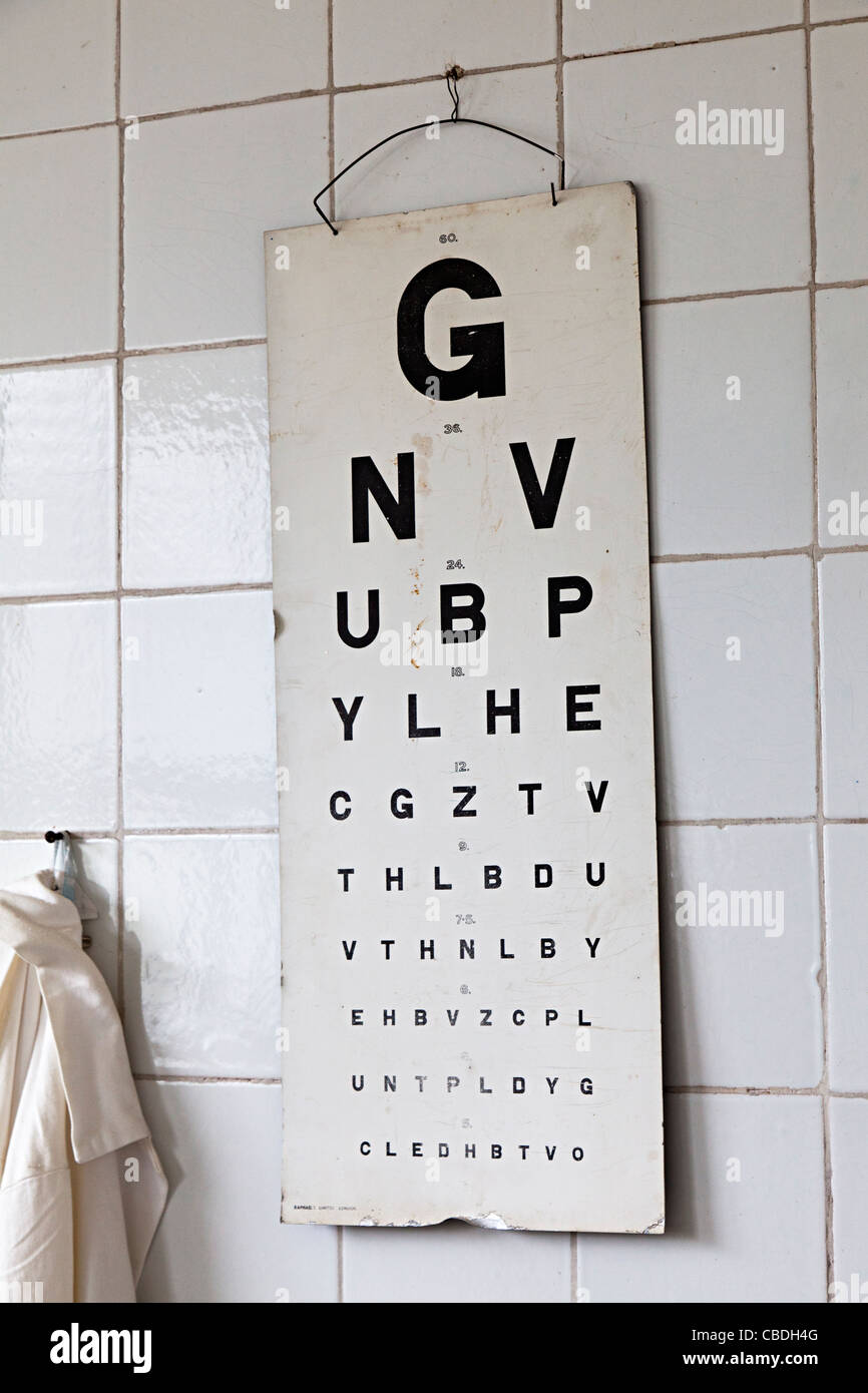 Old eye test chart in industrial medical centre UK - Stock Image