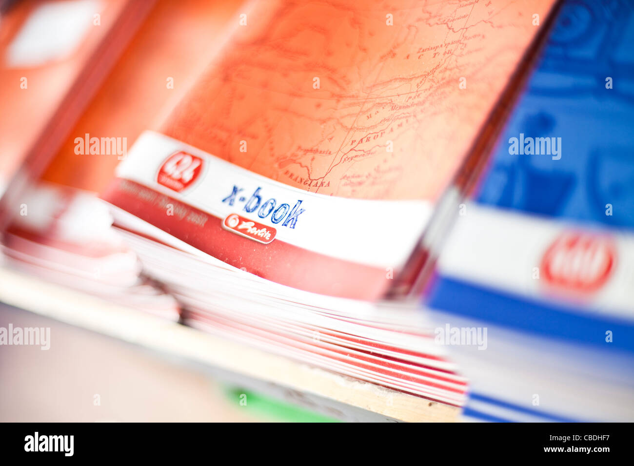 exercise book, notebook, school, office. - Stock Image