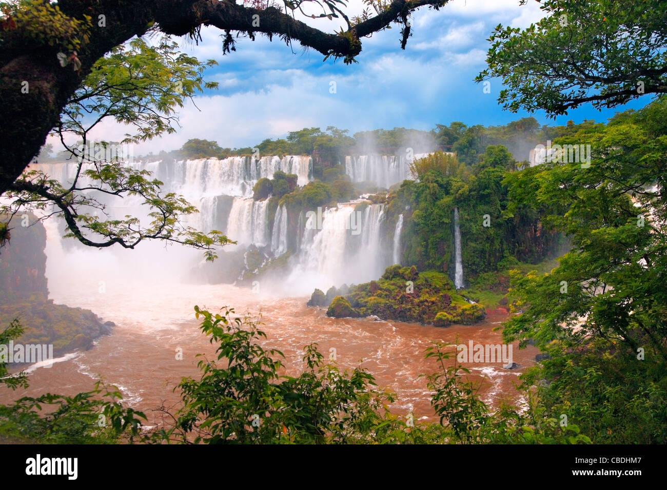Iguazu falls, along Iguazu river. Placed in the border of Argentina, and Brasil. - Stock Image