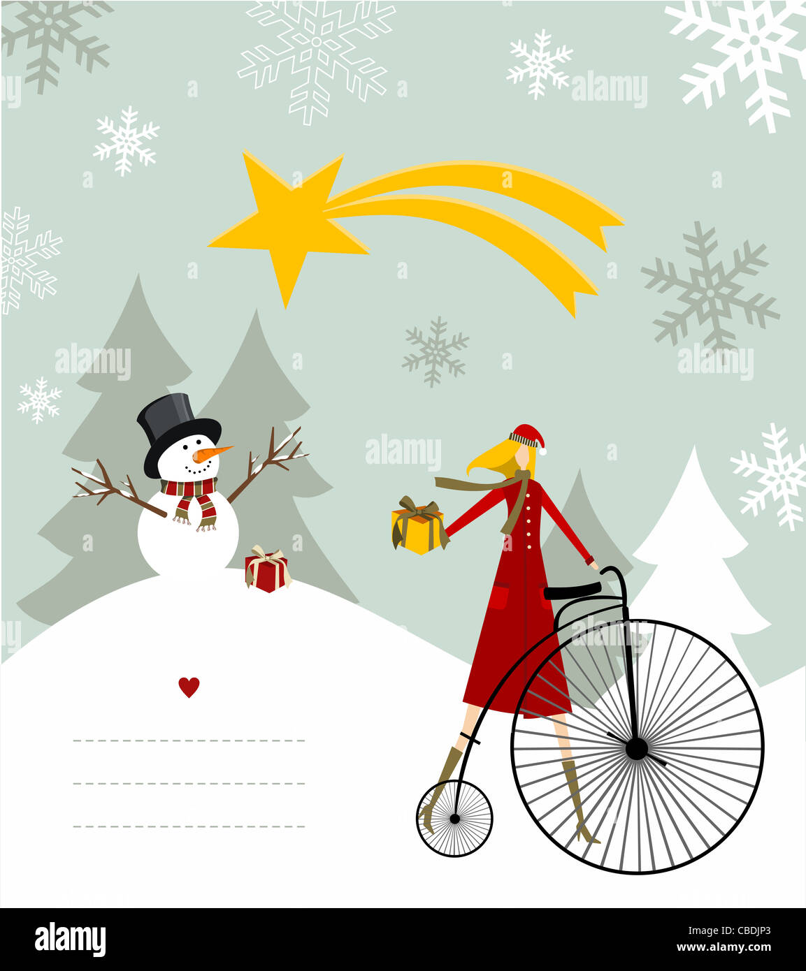 Snowman with star and gift on a bicycle illustration with blank lines to write on snowy background. Vector file Stock Photo