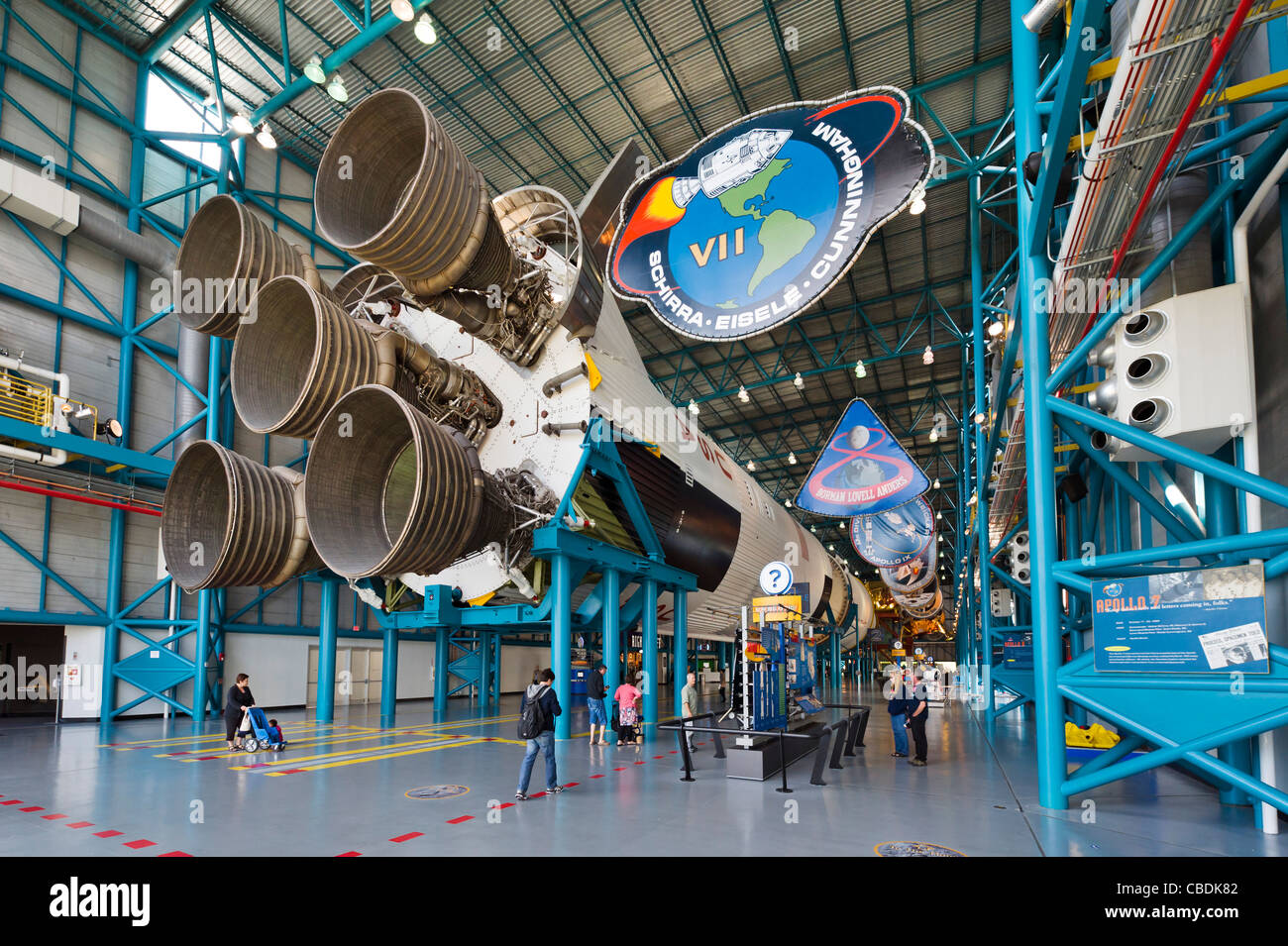 Saturn V rocket from the Apollo moon program, Saturn V complex, Kennedy Space Center, Merritt Island, Florida, USA - Stock Image