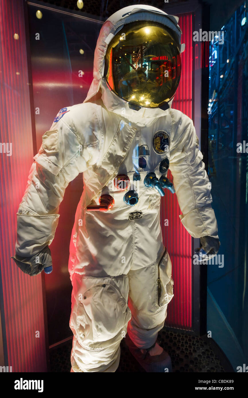 Space suit worn by James Lovell on  Apollo 13 moon mission, Saturn V complex, Kennedy Space Center, Merritt Island, Stock Photo