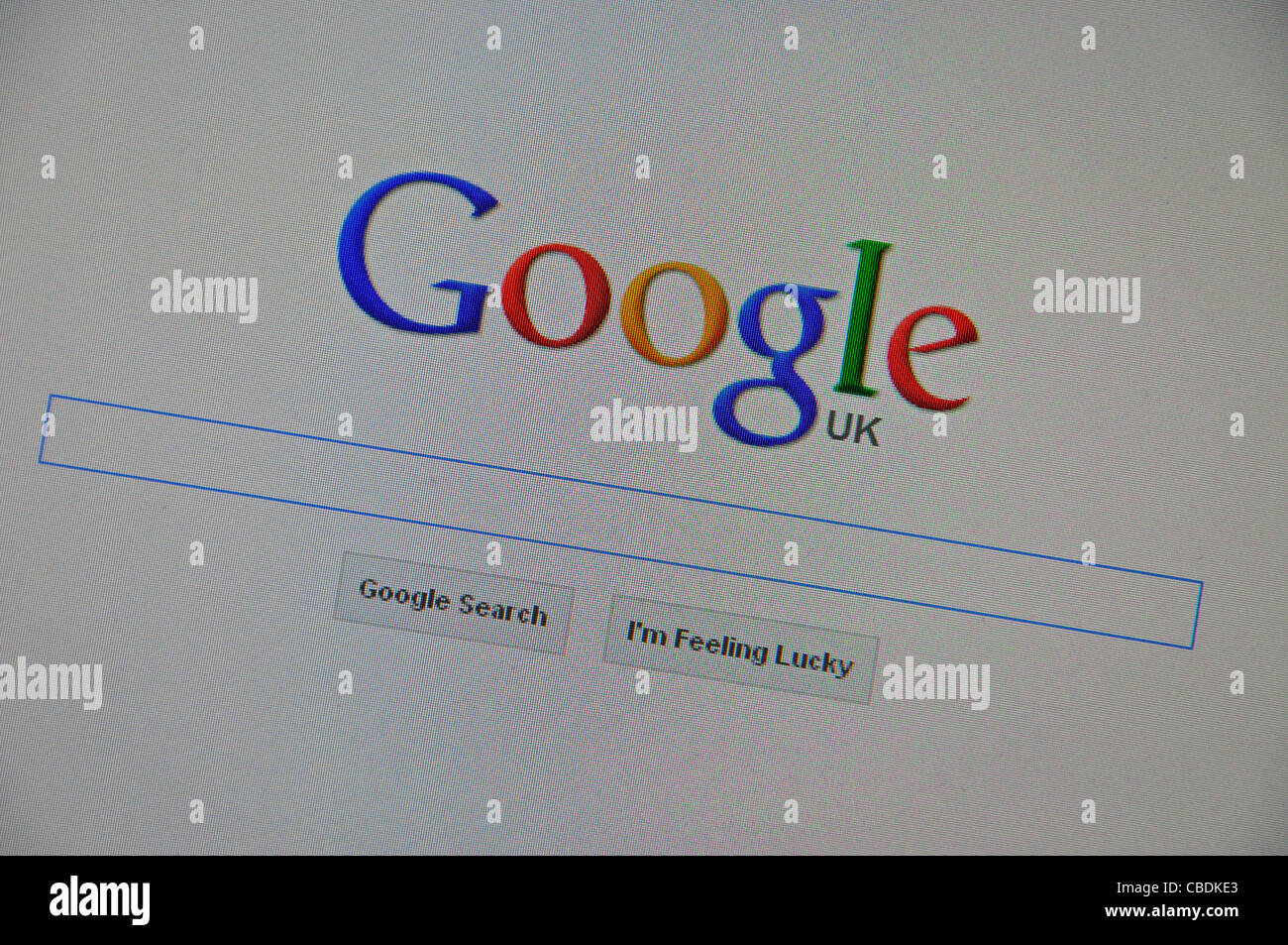 Google search page on computer screen, Greater London, England, United Kingdom - Stock Image