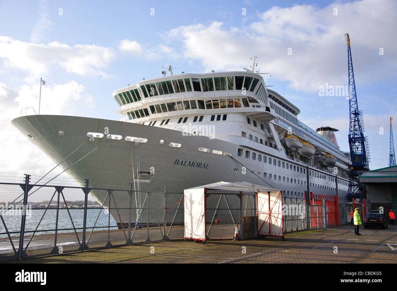 Fred Olsen M.S.Balmoral cruise ship berthed in Southampton, Hampshire, England, United Kingdom - Stock Image