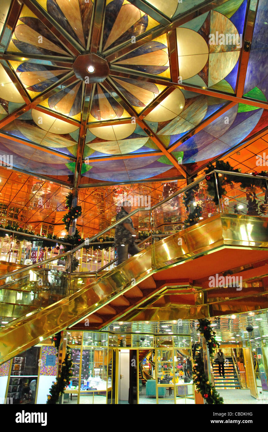 Central atrium on Fred Olsen M.S.Balmoral cruise ship in North Sea, Northern Europe - Stock Image