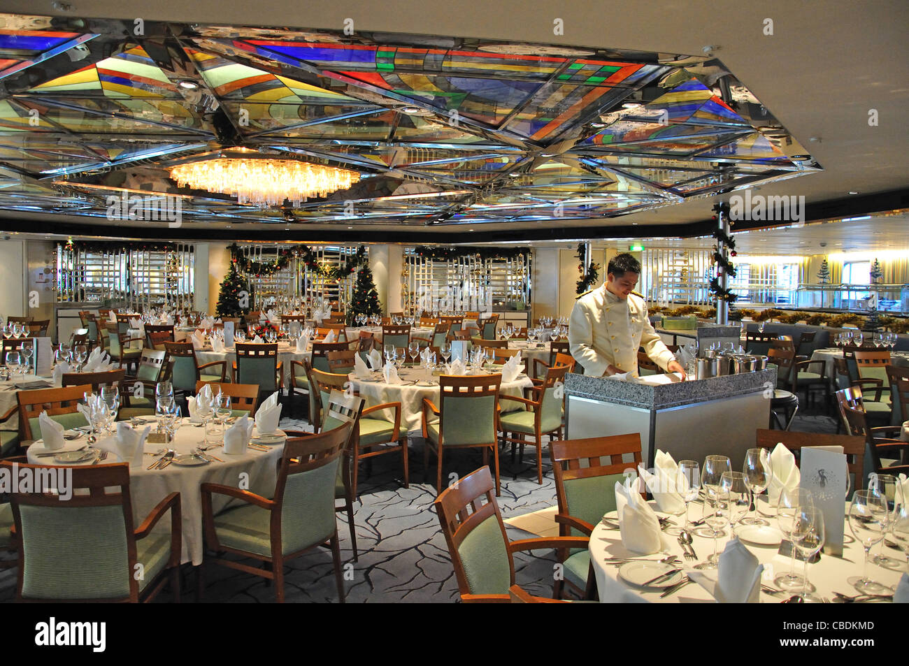 Ballindalloch restaurant on Fred Olsen M.S.Balmoral cruise ship in North Sea, Northern Europe Stock Photo