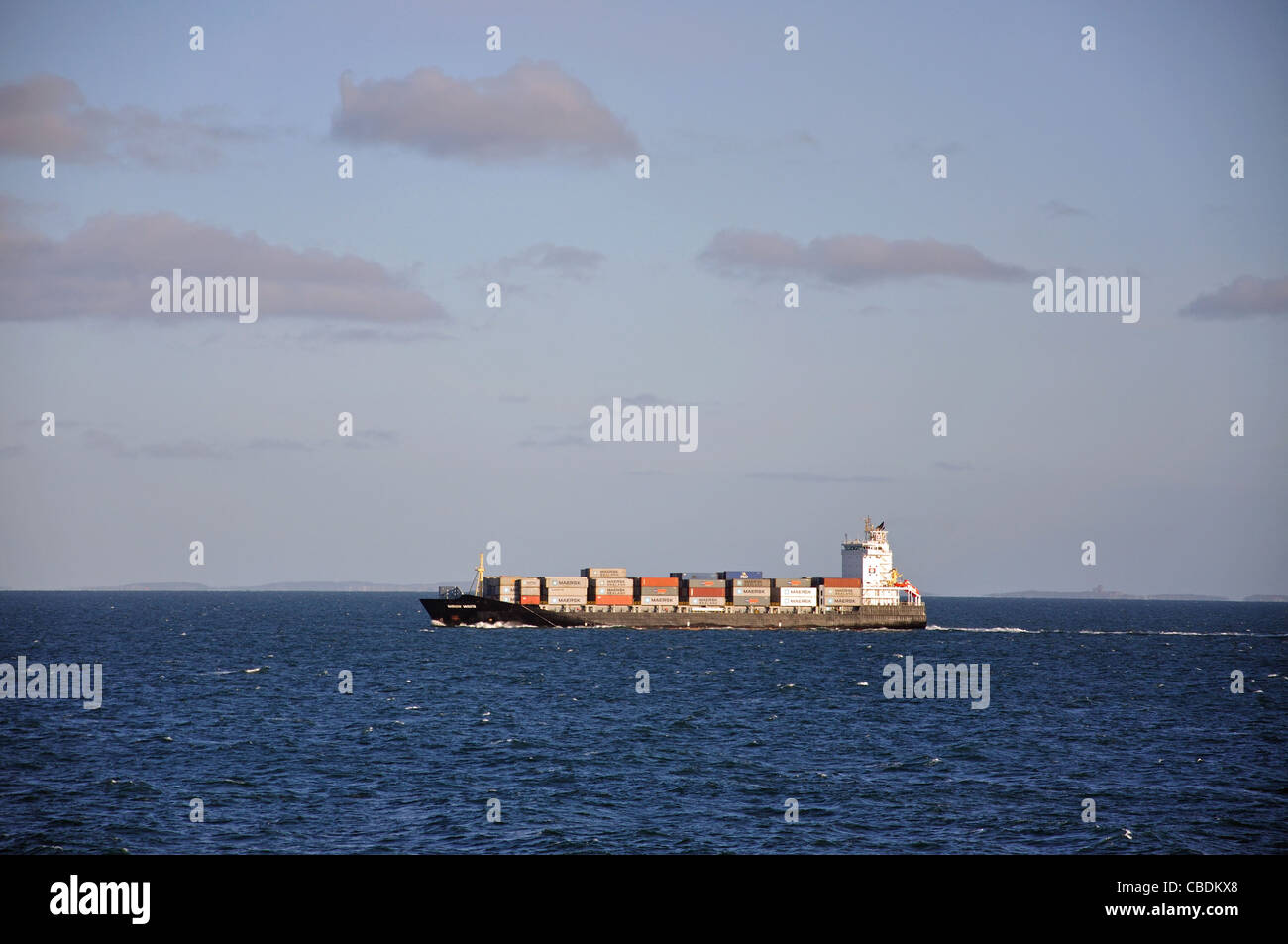 Container ship on the North Sea, Northern Europe - Stock Image