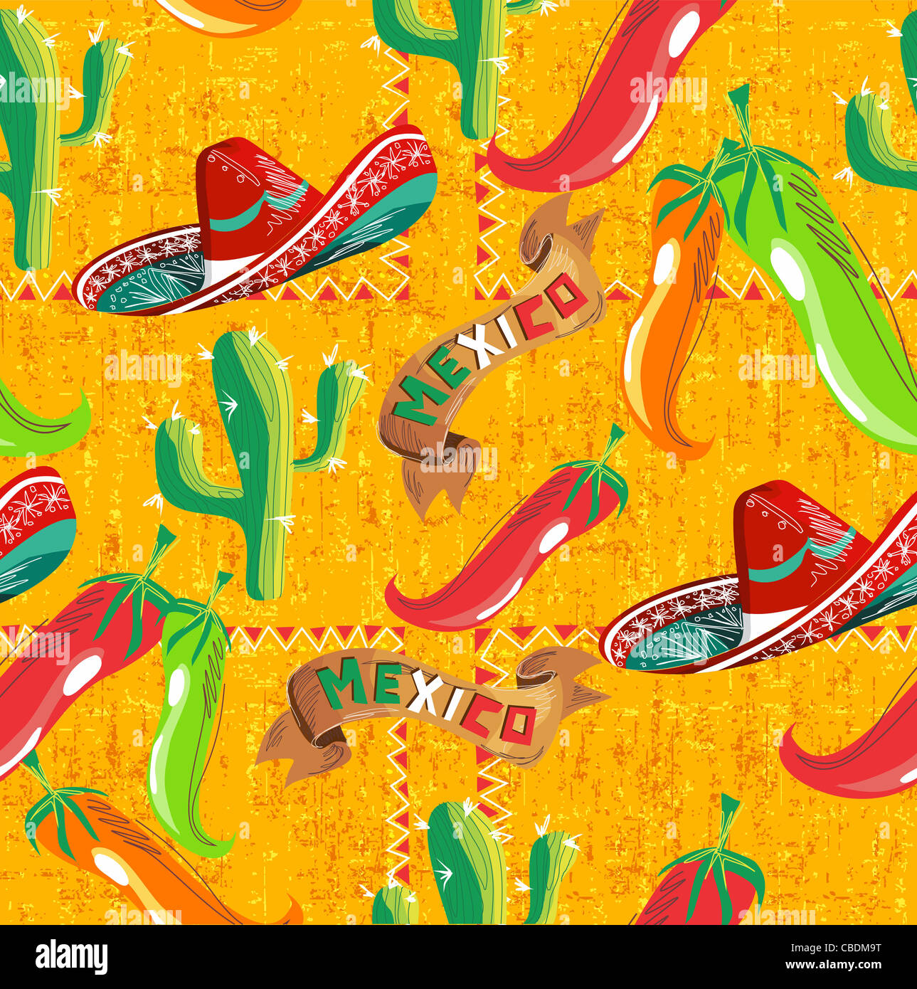 mexican pattern with cactus, hat and chill illustration over grunge