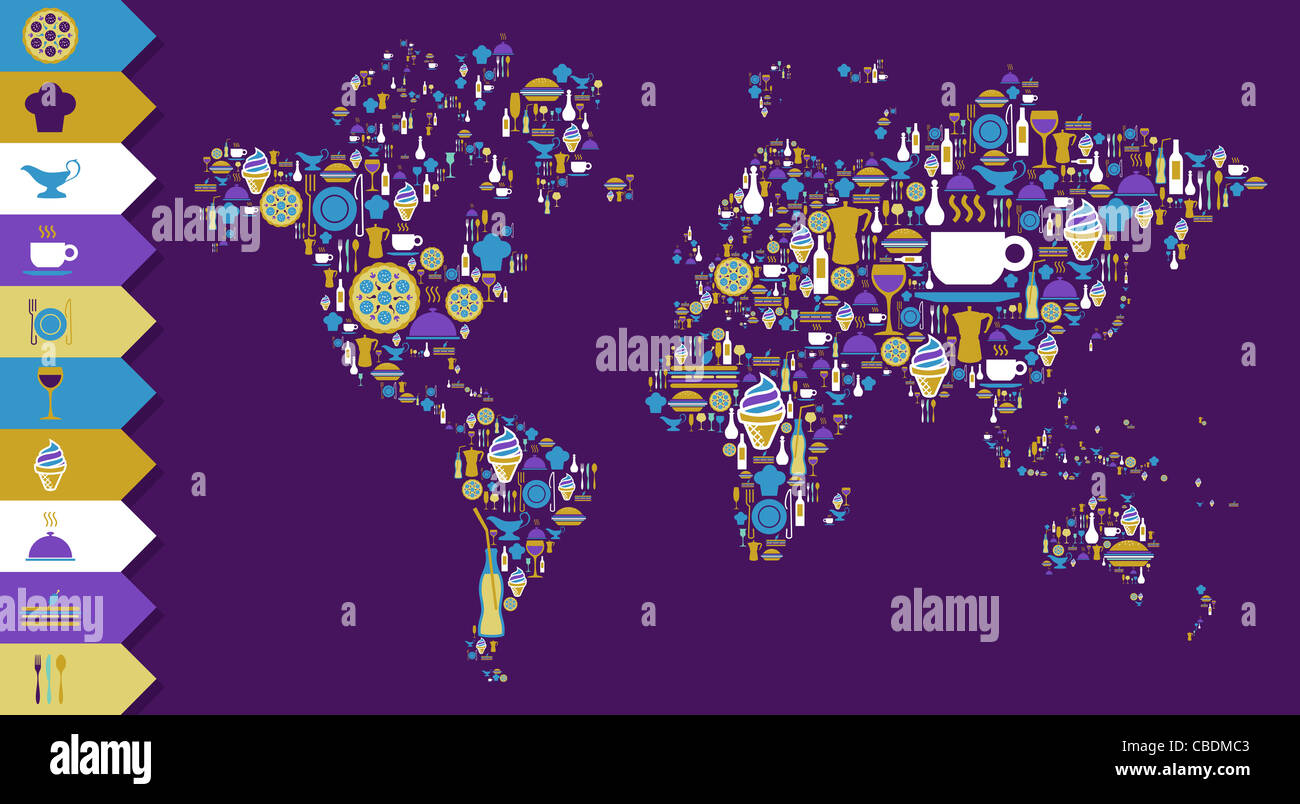 Globe world map shape made with gourmet icons over violet background. Vector file available. - Stock Image