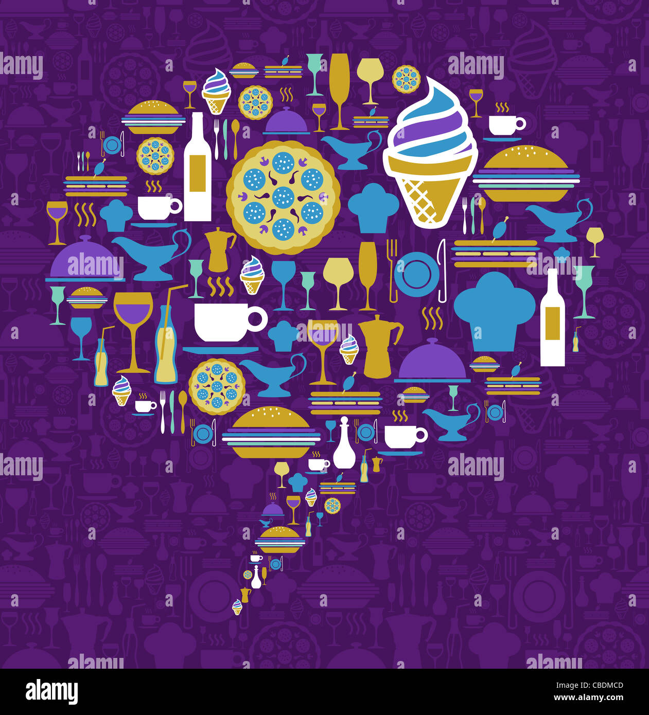 Dialogue bubble shape made with gourmet icons on a violet background. Vector file available. - Stock Image