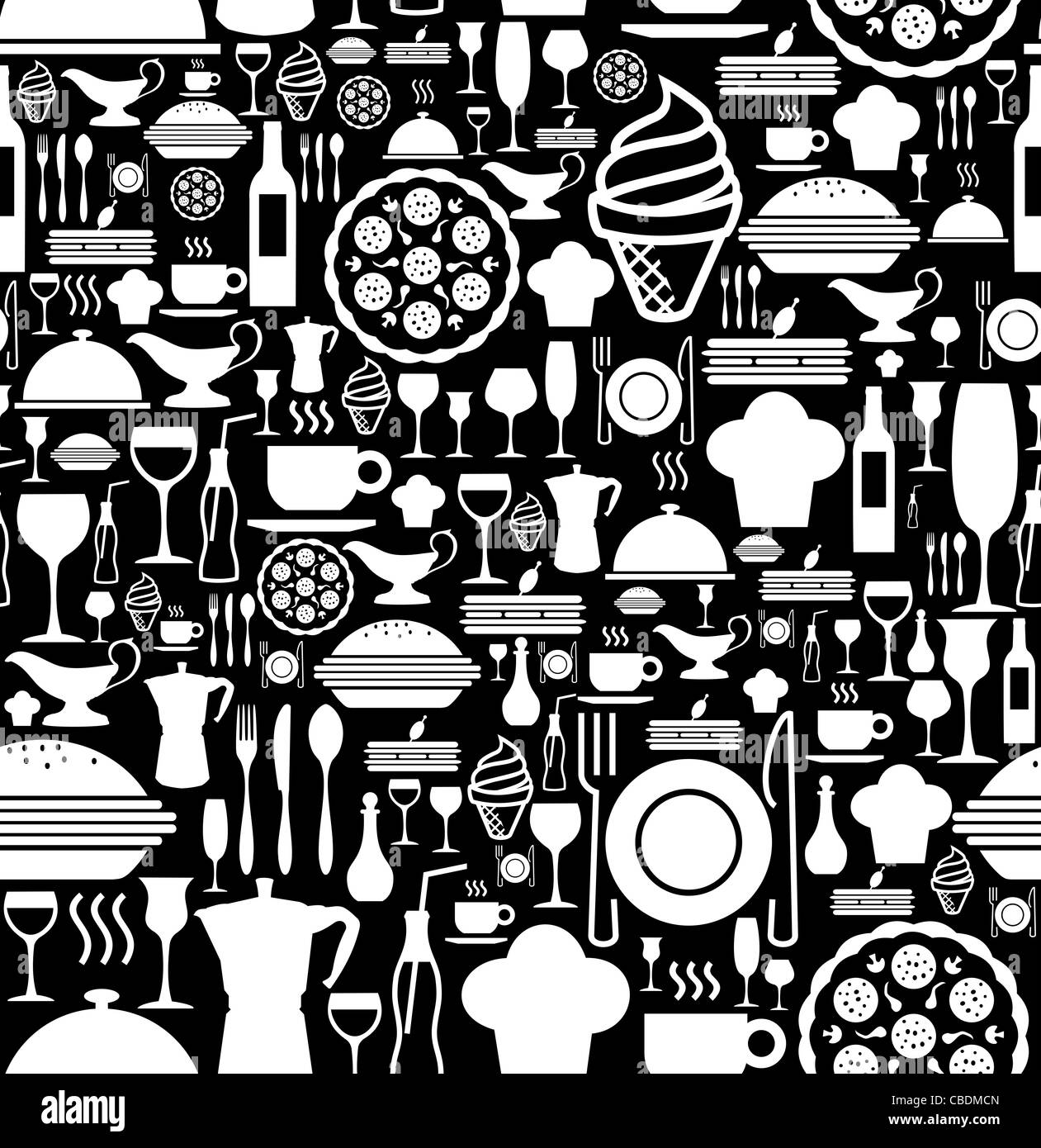 Black and white gourmet icon set seamless pattern background vector file available