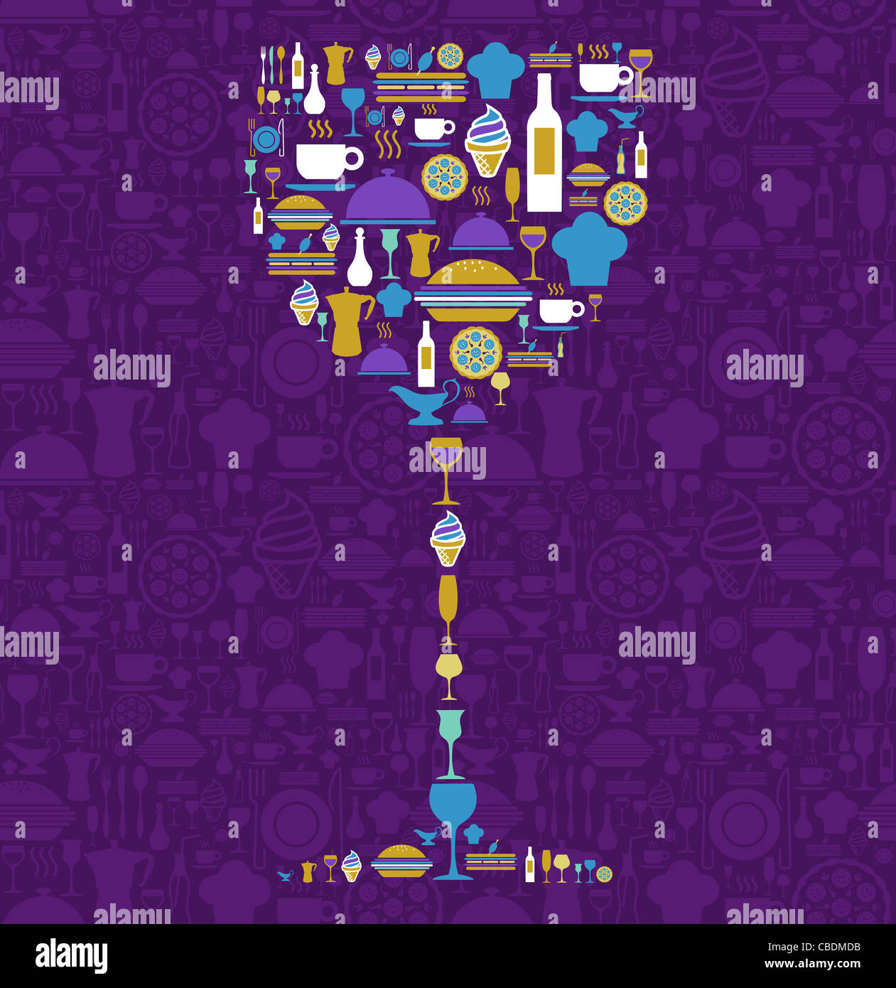 Wine glass shape made with food and beverage icon set over violet background. Vector file available. - Stock Image
