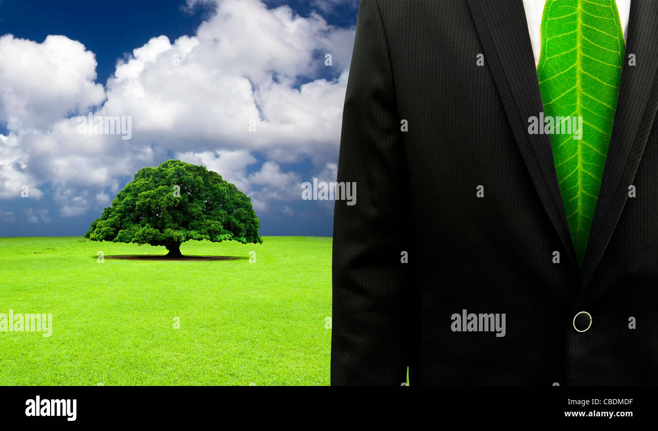 green business concept.Businessman with leaf tie and old tree background - Stock Image