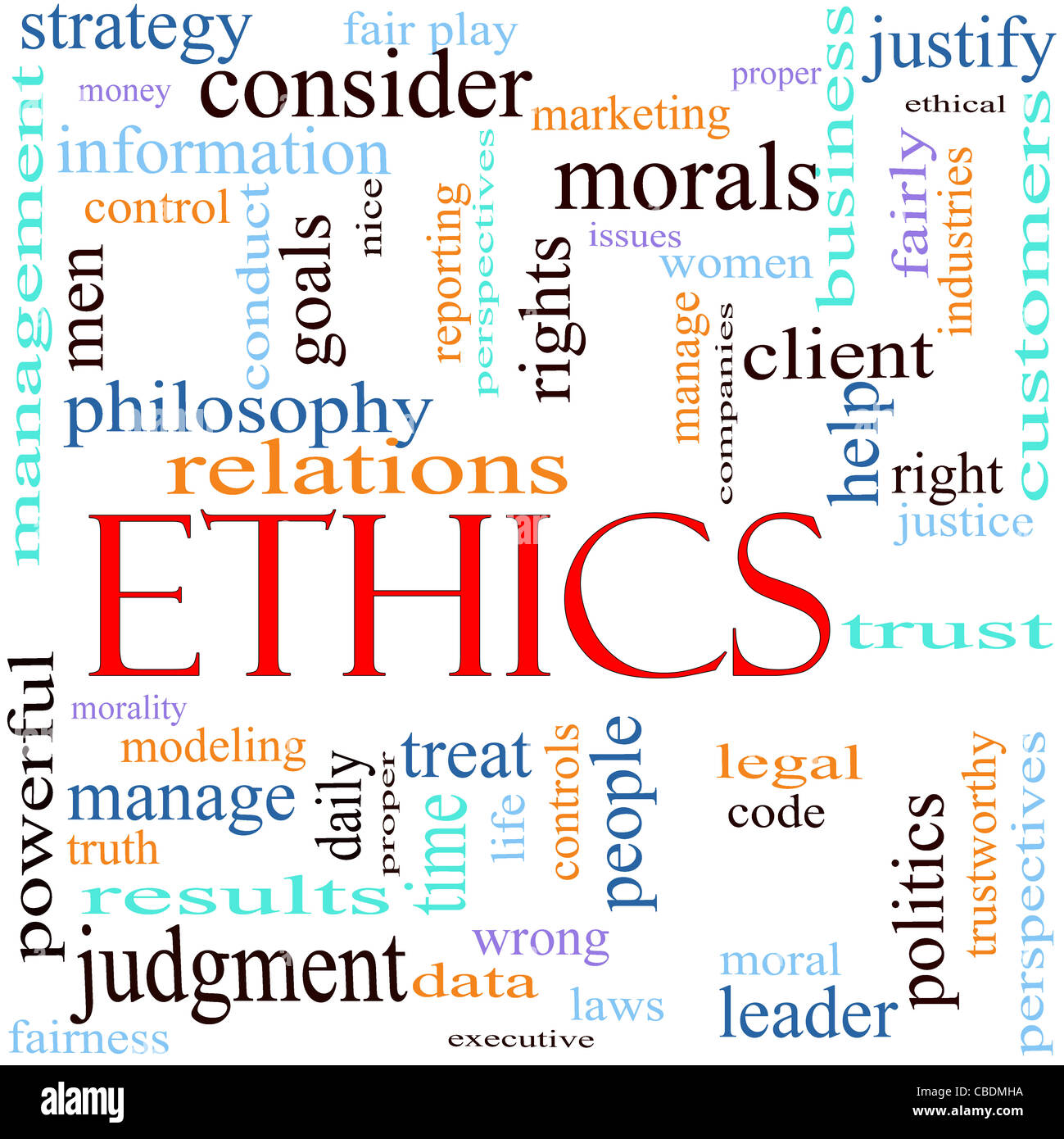 An illustration around the word Ethics with lots of different terms such as philosophy, relations, trust, manage - Stock Image