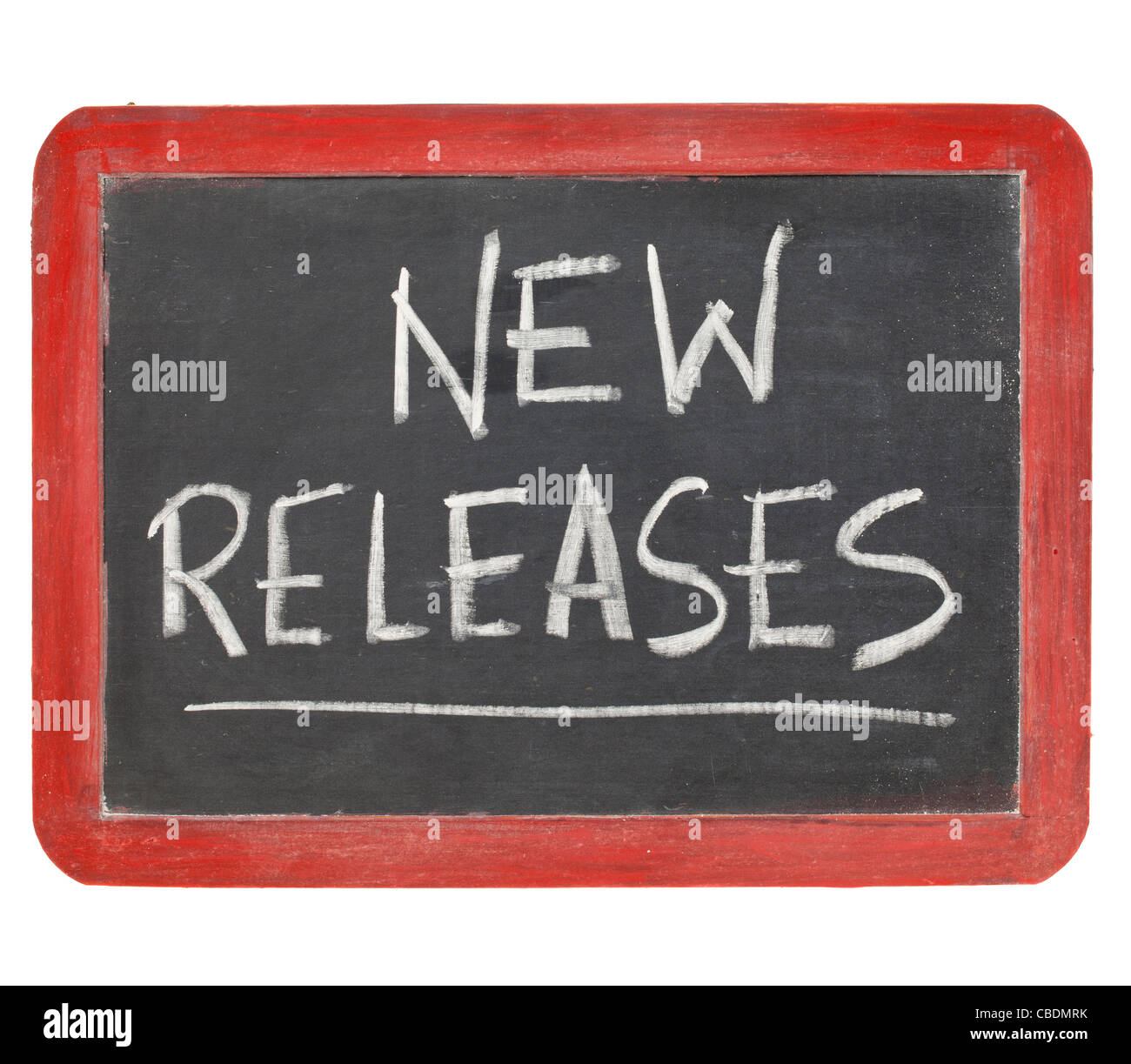 new releases text in white chalk handwriting on a vintage slate blackboard, isolated on white - Stock Image
