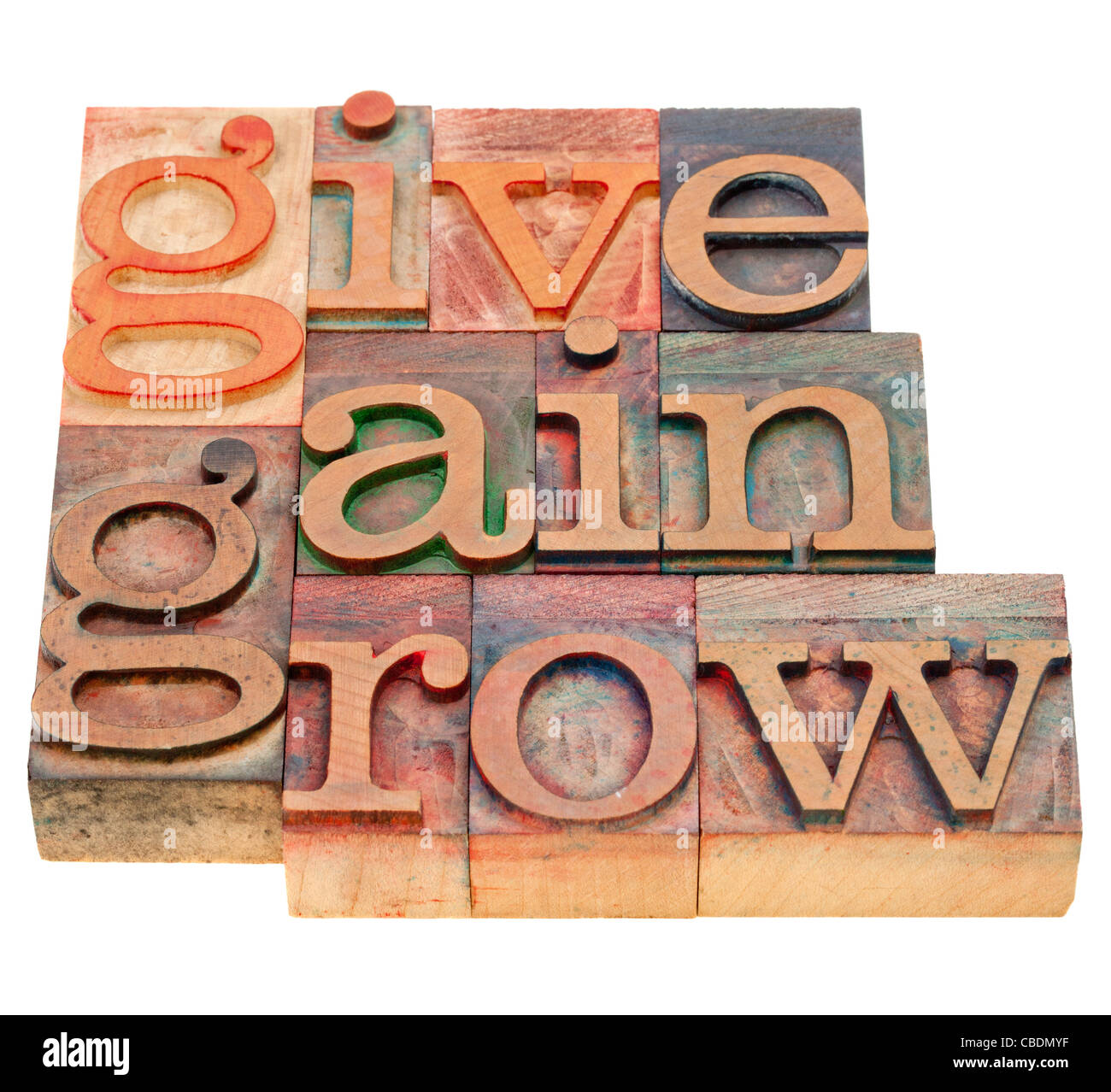 give, gain and grow -personal development concept - isolated word abstract in vintage wood letterpress printing - Stock Image