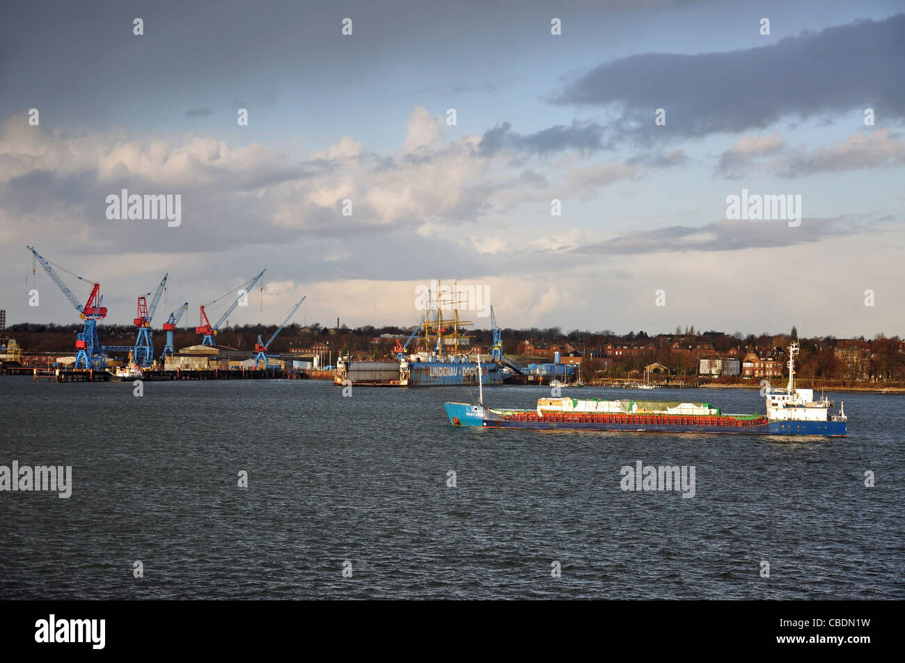 Ship approaching entrance to Kiel Canal, Schleswig-Holstein, Federal Republic of Germany - Stock Image