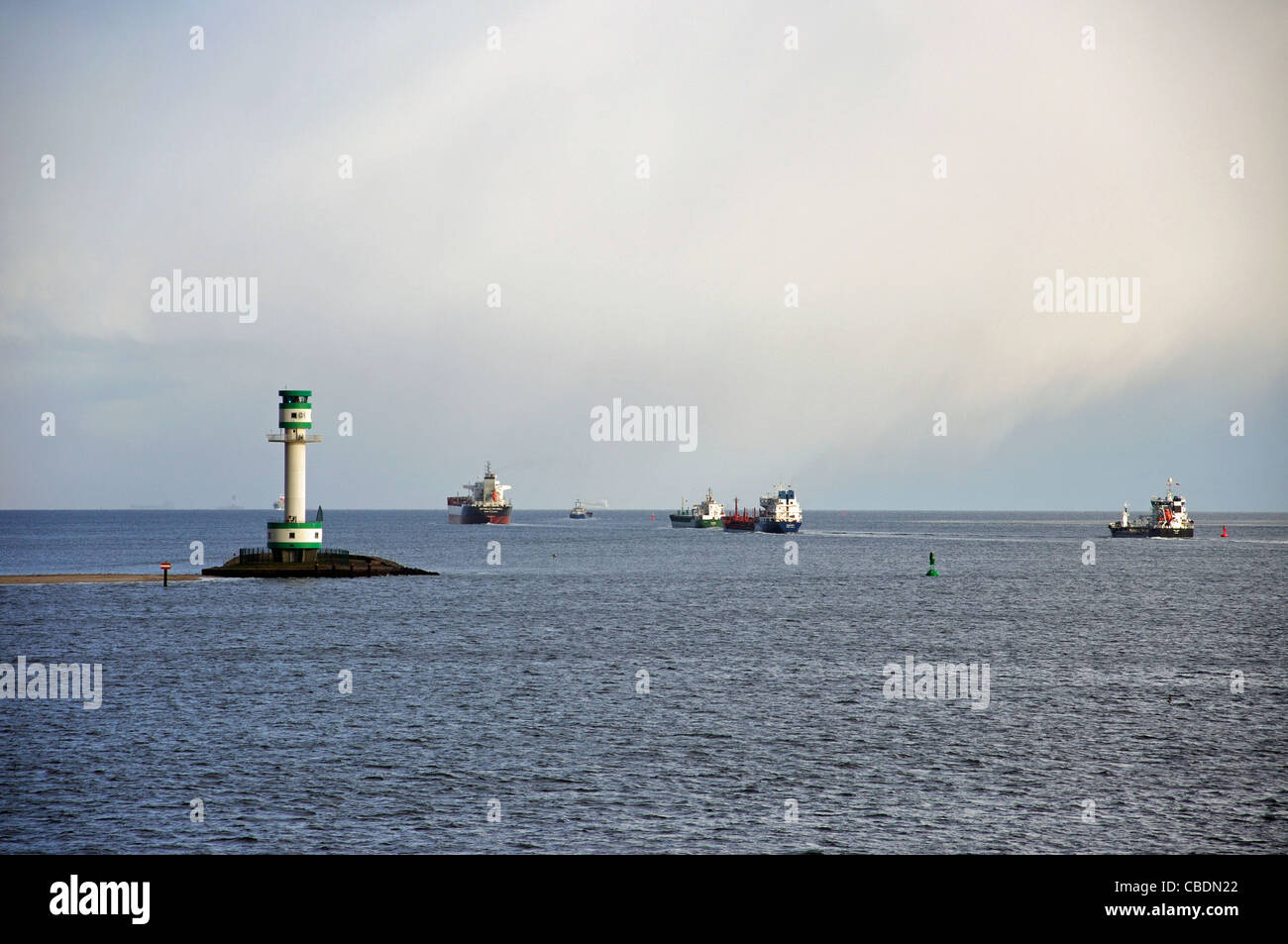 Ships in Baltic Sea after leaving Kiel Canal, Schleswig-Holstein, Federal Republic of Germany - Stock Image