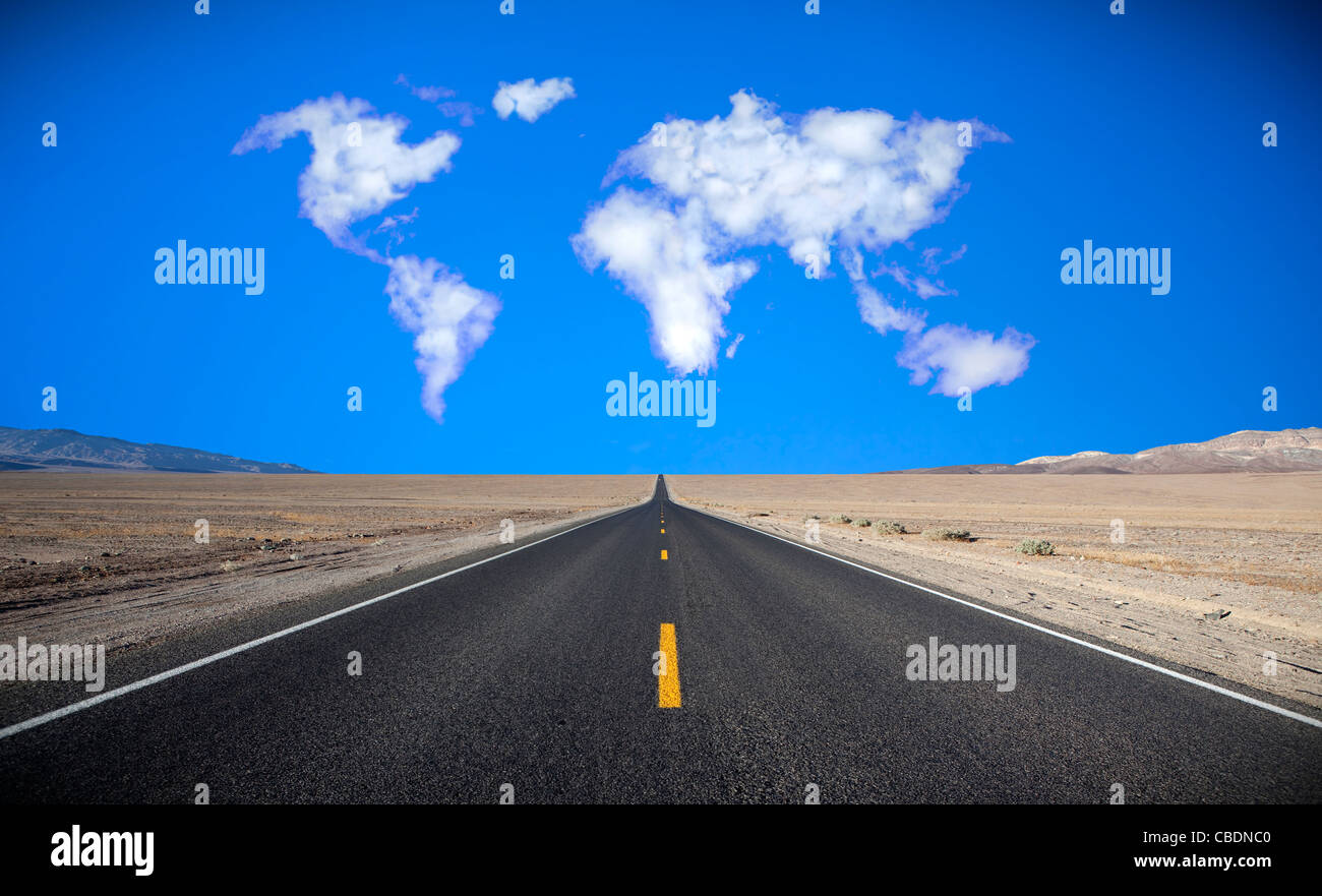 Cloud formation in the shape of a map of the world - Stock Image