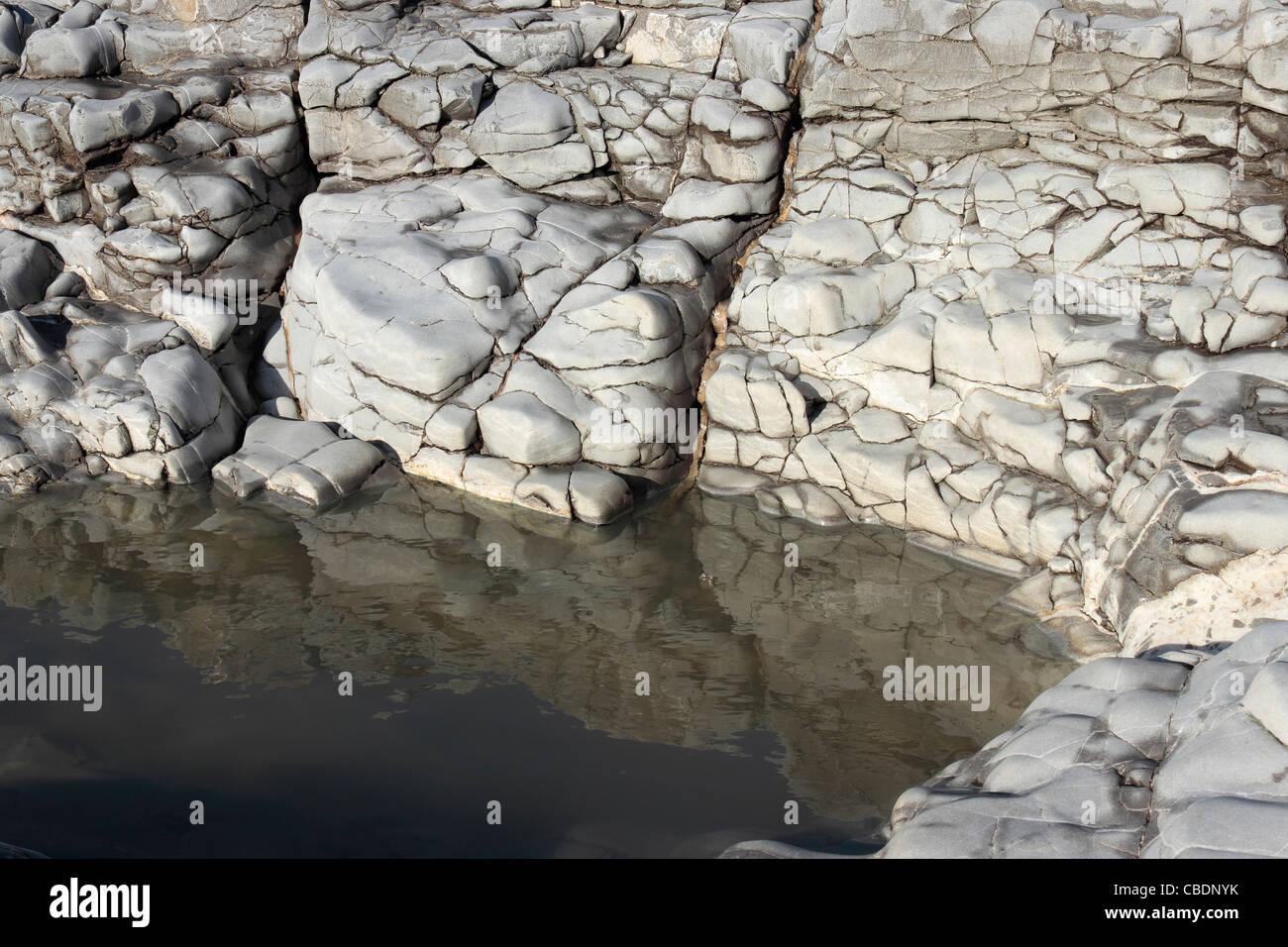 Rockpool on Ogmore Beach - Stock Image
