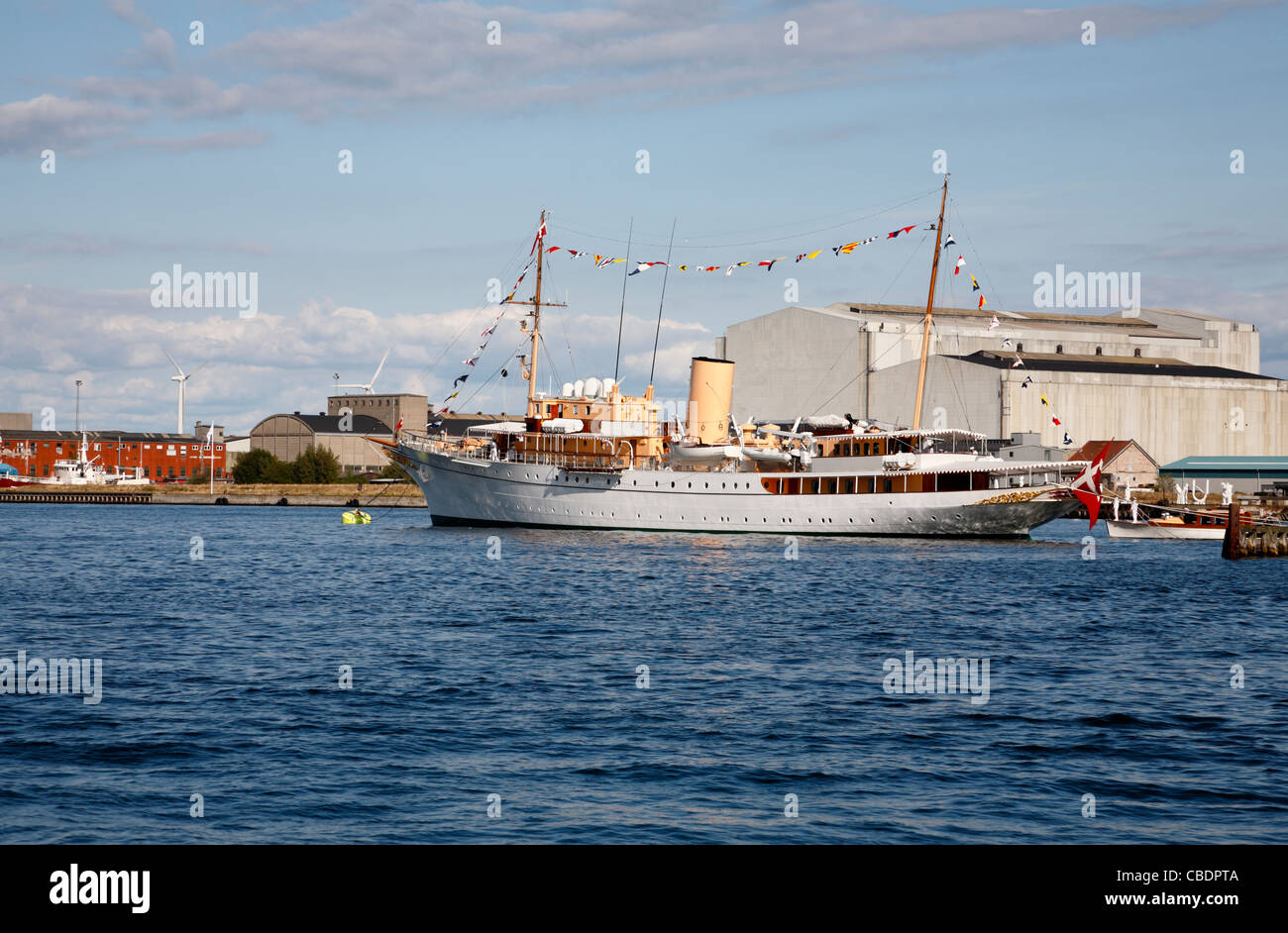 The Danish royal yacht, HDMY Dannebrog, has returned to its anchorings in the port of Copenhagen from the royal - Stock Image