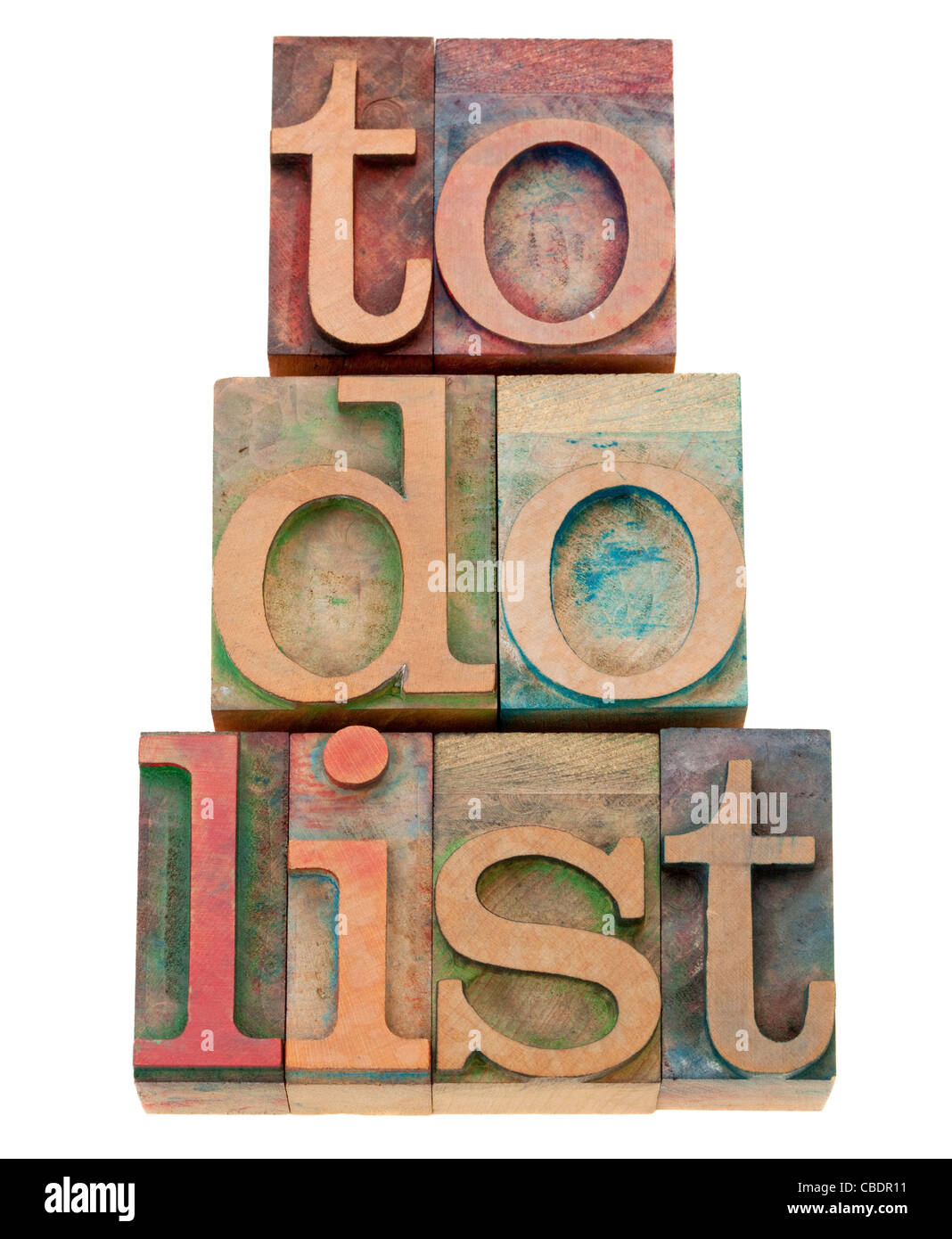 to do list - task management concept - isolated text in vintage wood letterpress printing blocks - Stock Image