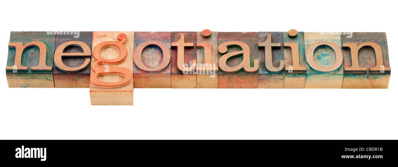 negotiation - isolated word in vintage wood letterpress printing blocks - Stock Image