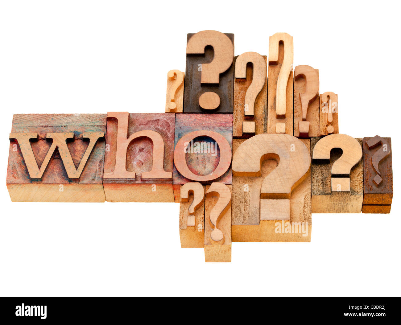 who question with multiple question marks - isolated vintage wood letterpress printing blocks - Stock Image