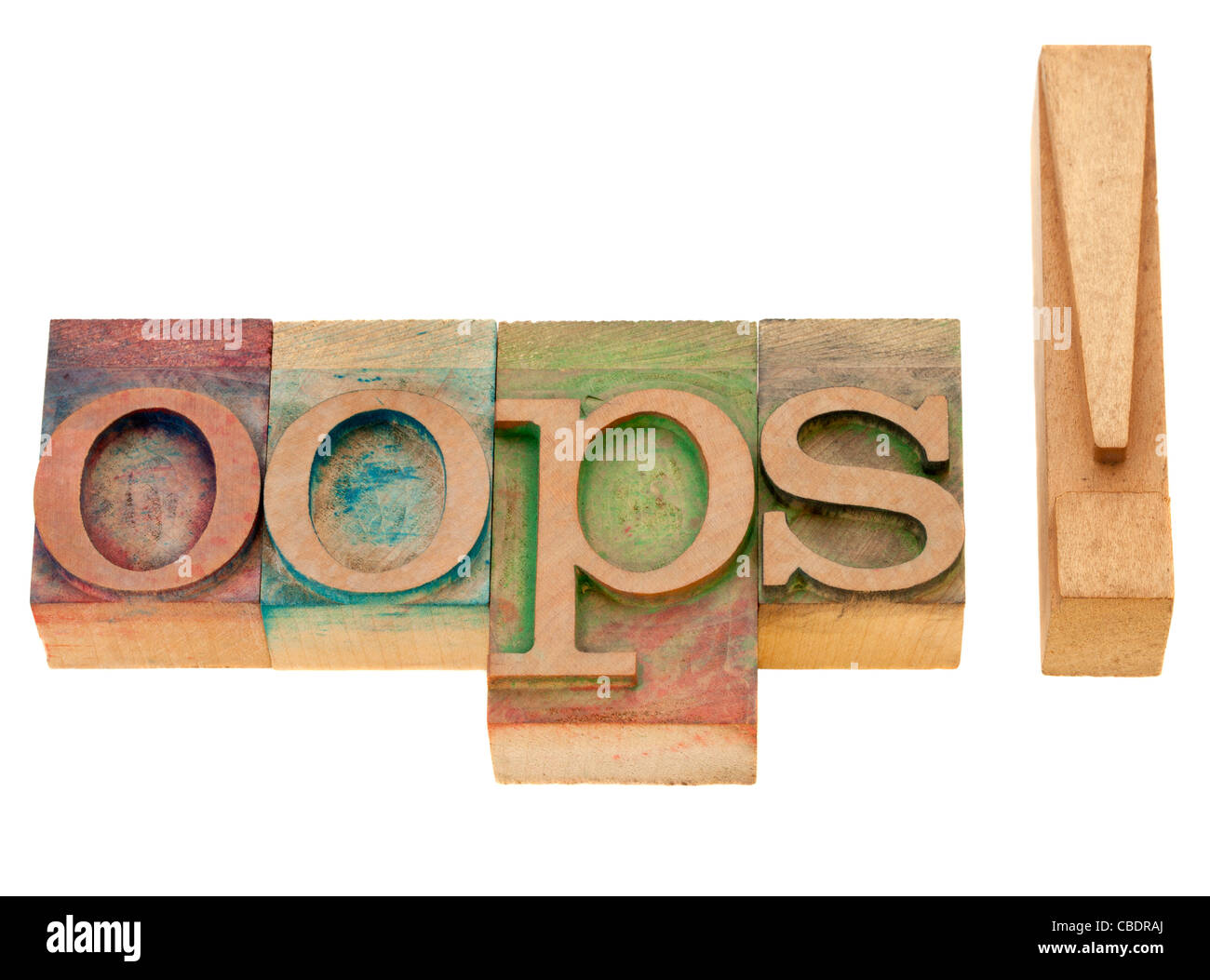 dismay or surprise concept - oops exclamation - isolated word in vintage wood letterpress printing blocks - Stock Image