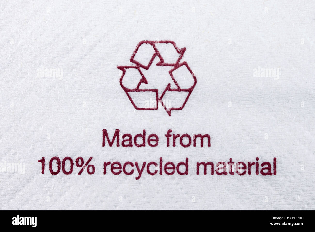 Napkin Made from 100% recycled material - Stock Image