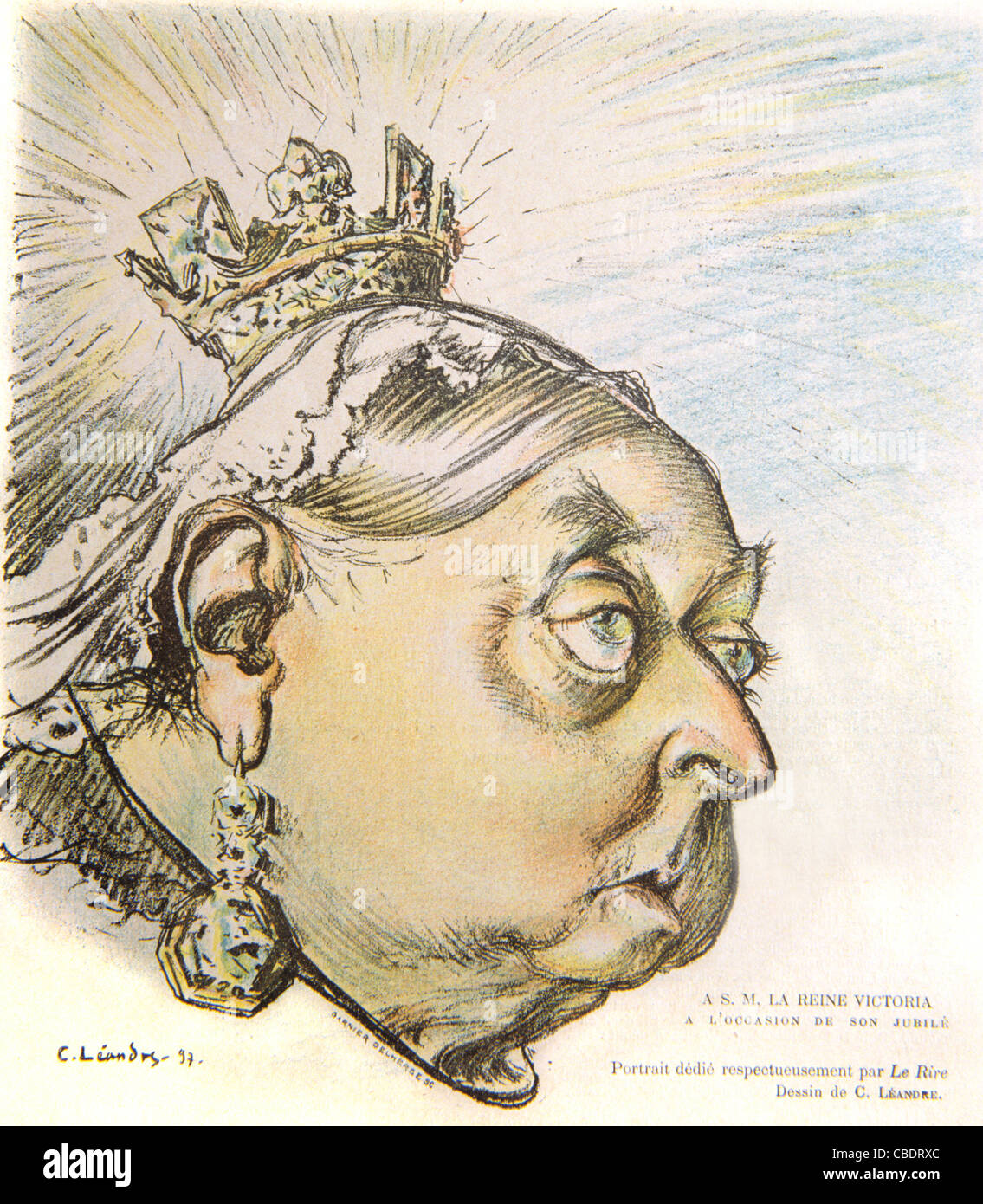 Satirical Cartoon of Queen Victoria on Sixtieth Jubilee of her Reign. Cover of French Satirical Magazine, 'Le - Stock Image