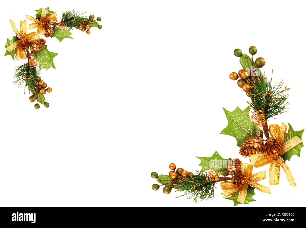 Holiday frame border with Christmas tree branch ornament as winter decoration isolated on white background - Stock Image