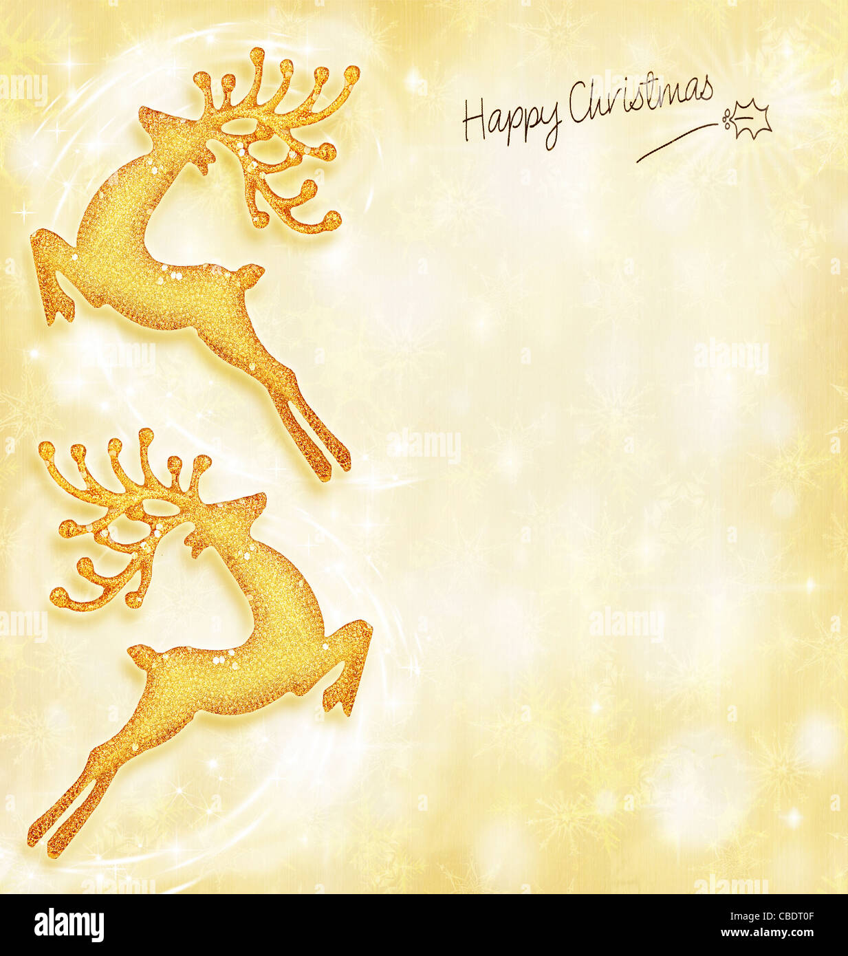 new year holiday card golden background reindeer decorative border traditional tree ornament abstract shiny glowing lights