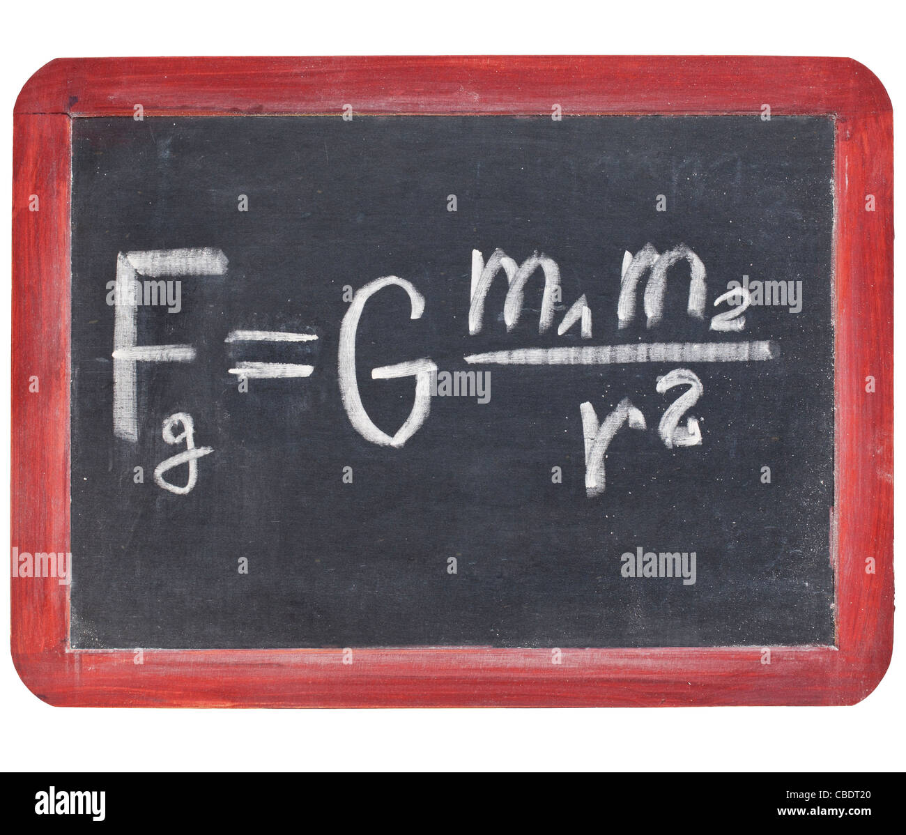 physics education concept - Newton gravity law on a small slate blackboard - Stock Image