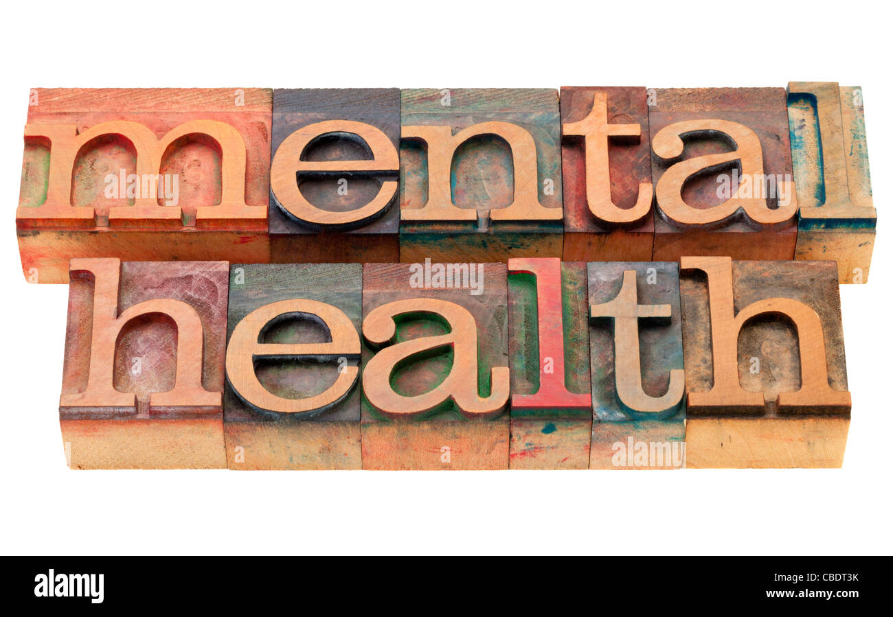 mental health - isolated text in vintage wood letterpress printing blocks - Stock Image