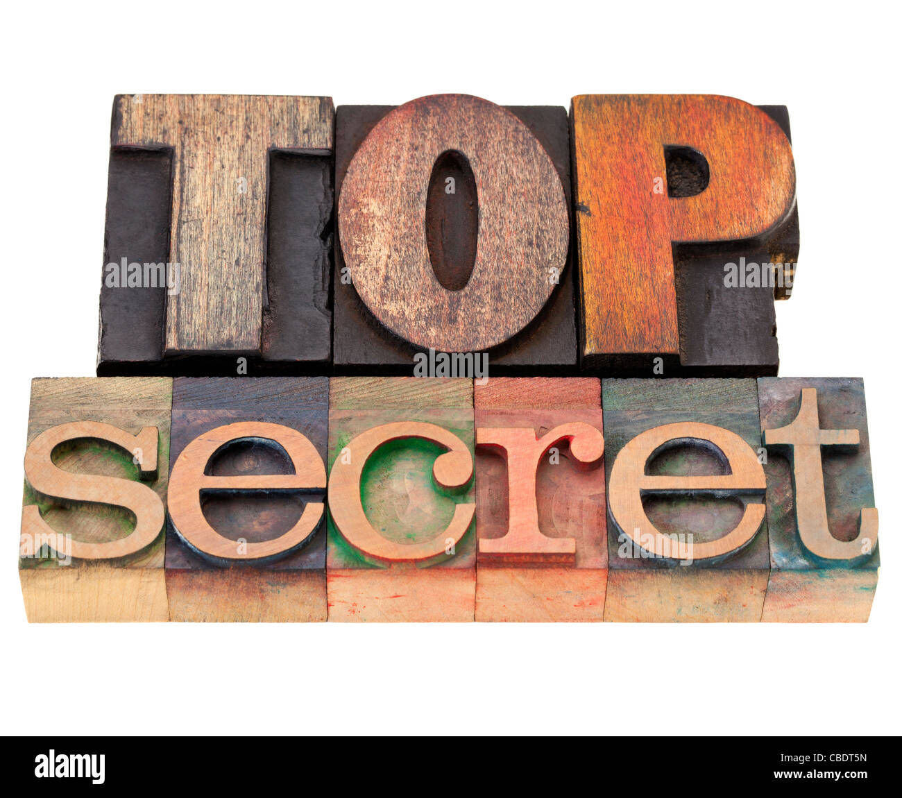 conspiracy concept - top secret isolated words in vintage wood letterpress printing blocks - Stock Image