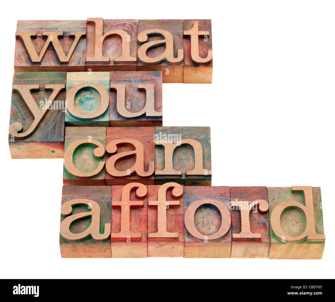 what you can afford - isolated phrase in vintage wood letterpress printing blocks - Stock Image