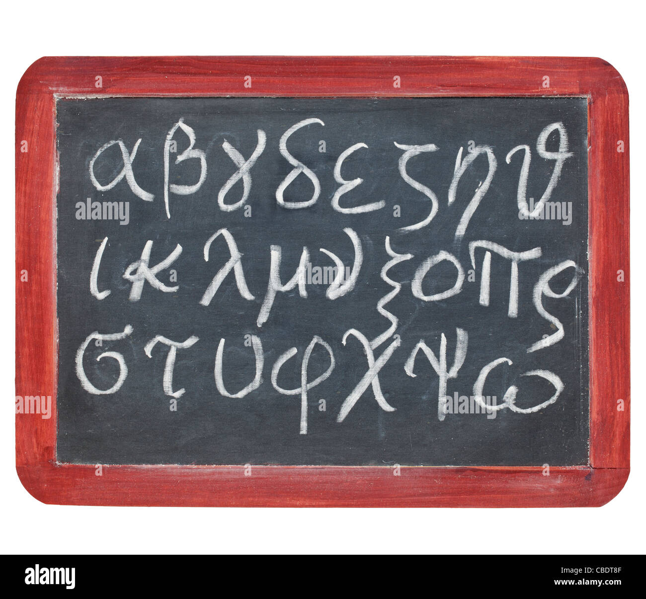 Greek alphabet from alpha to omega - white chalk handwriting on a small slate blackboard - Stock Image