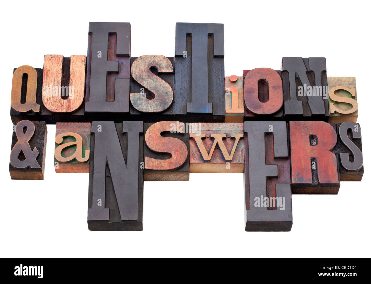 questions and answers - word abstract in antique wood letterpress printing blocks, isolated on white - Stock Image