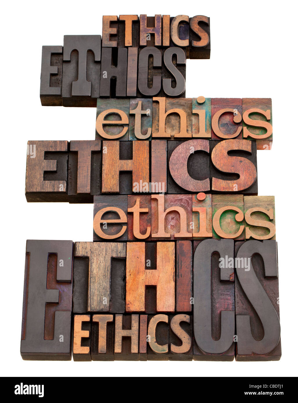 ethics word collage in vintage wood letterpress printing blocks, isolated on white, variety of fonts - Stock Image