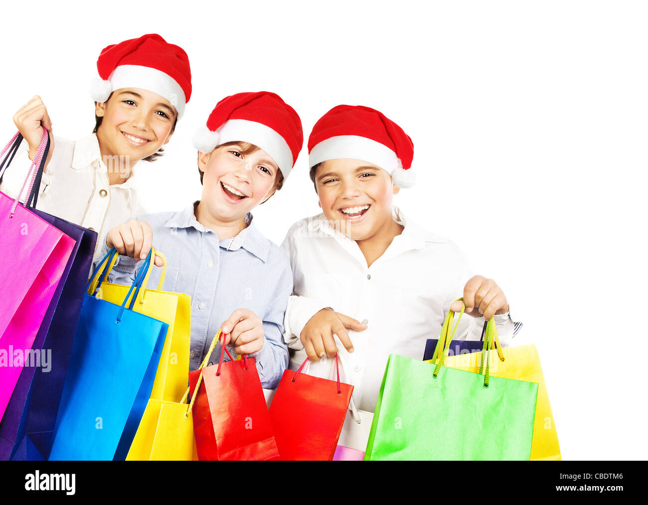 Colorful Christmas Background For Kids.Happy Santa Boys With Gifts Kids Carrying Colorful Shopping
