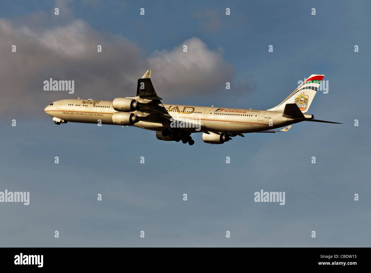 An Airbus A340 of the Abu Dhabi airline Etihad - Stock Image