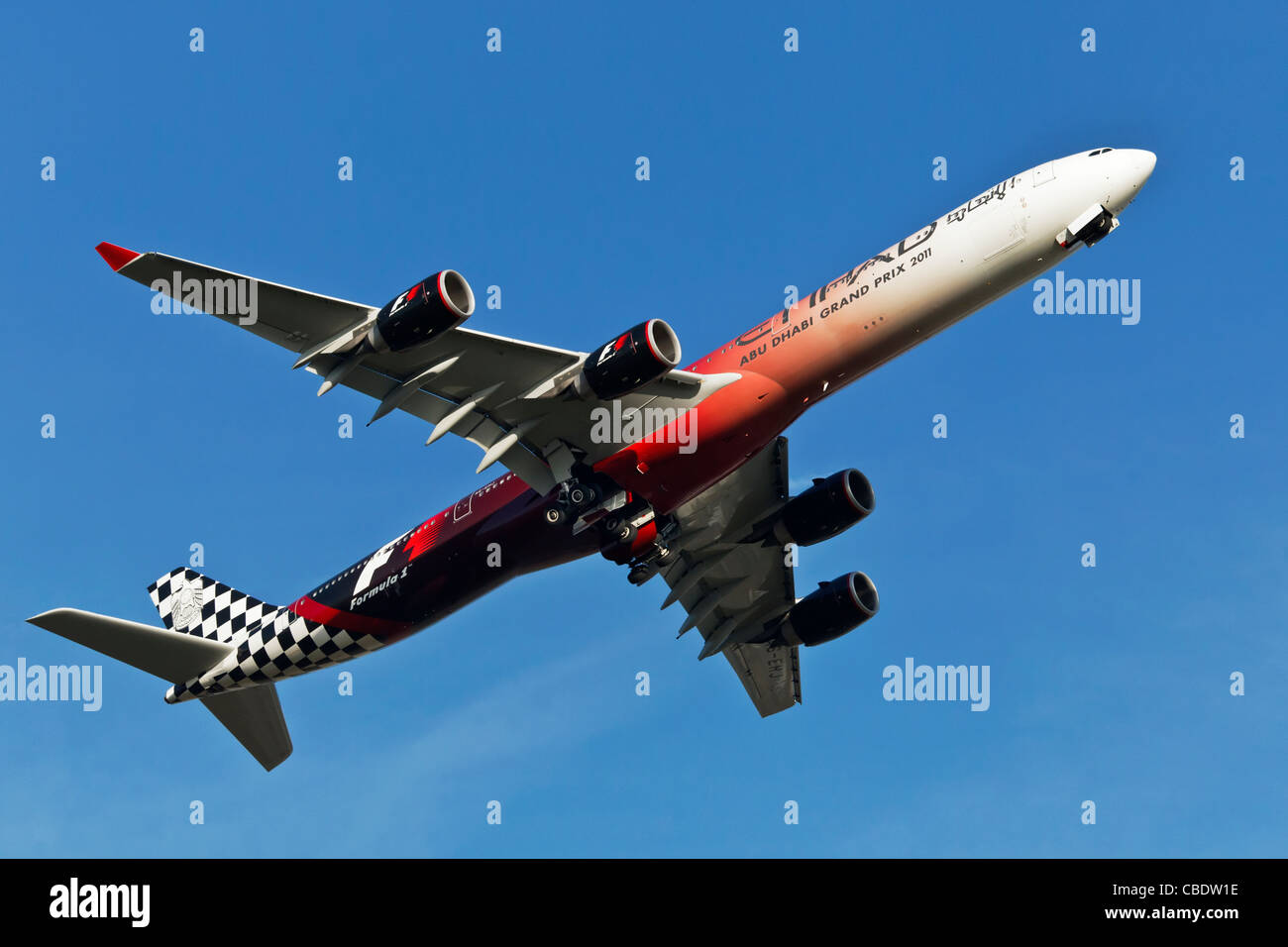 An Airbus A340 of the Abu Dhabi airline Etihad in F1 special colours - Stock Image