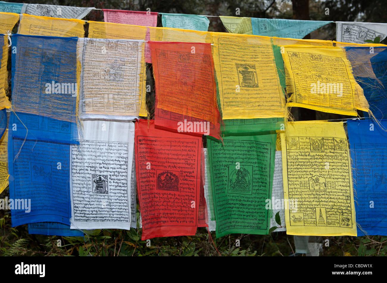 Colourful buddhist prayer flags at the Dochu La Pass, Bhutan Stock Photo