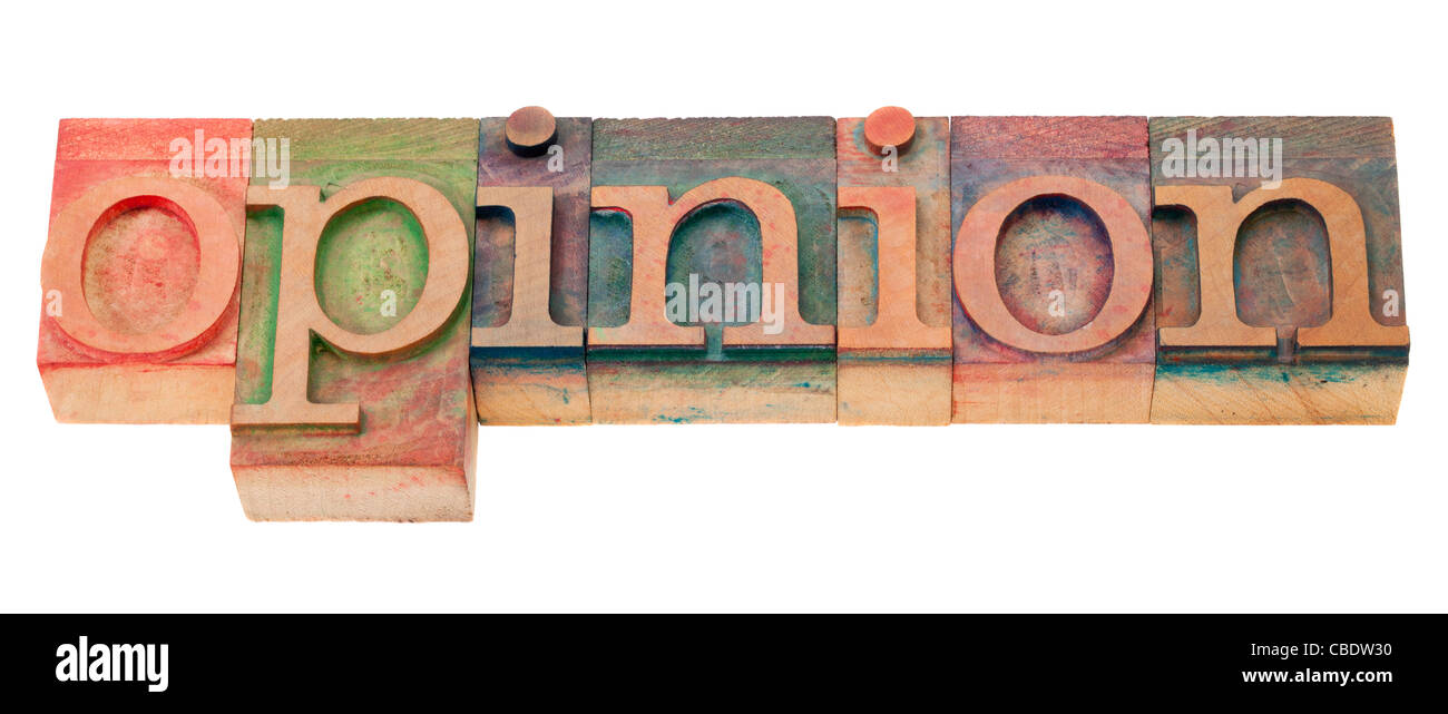 opinion word in vintage wood letterpress printing blocks, isolated on white - Stock Image