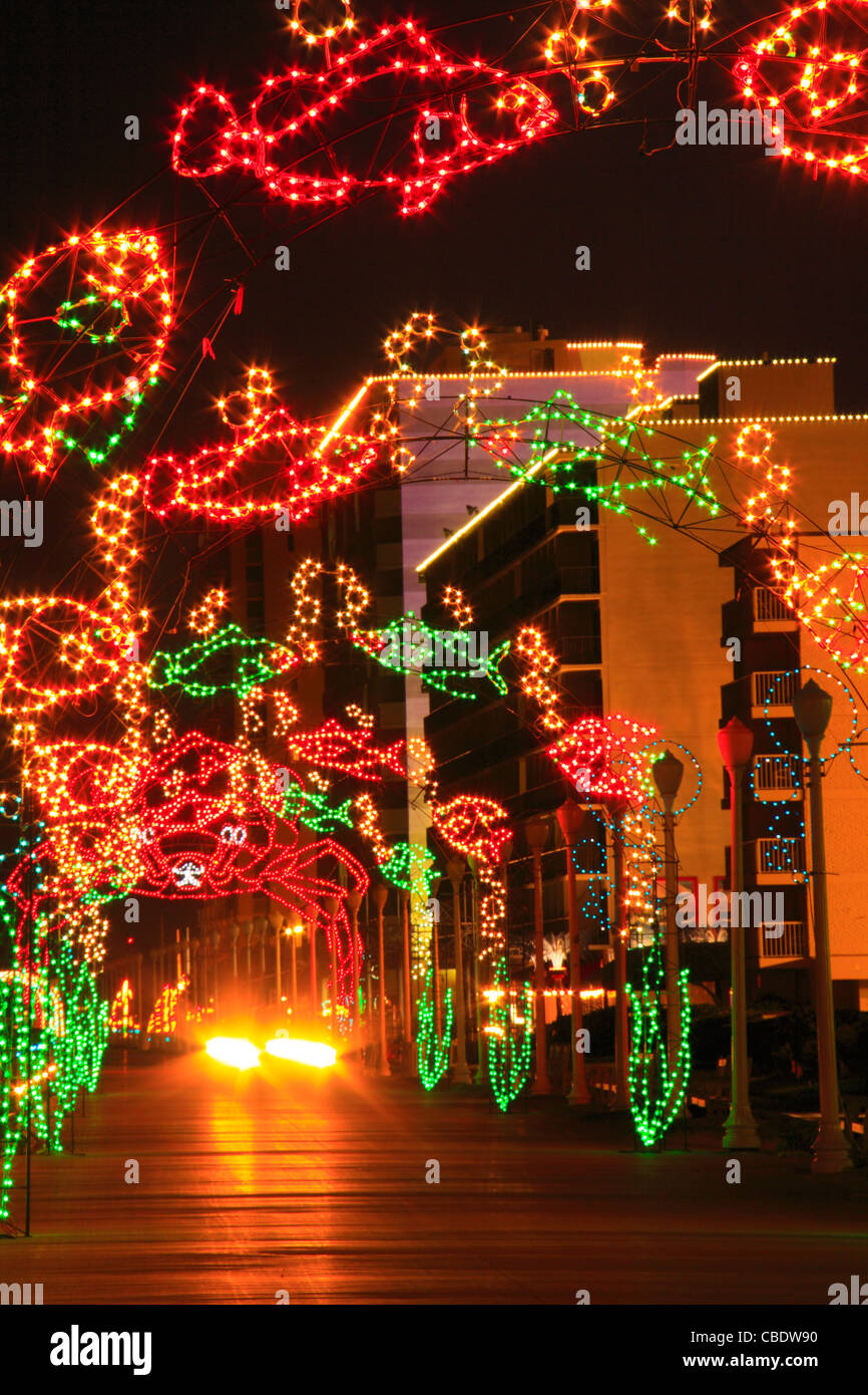 christmas lights along boardwalk virginia beach virginia usa stock image - Virginia Beach Christmas Lights