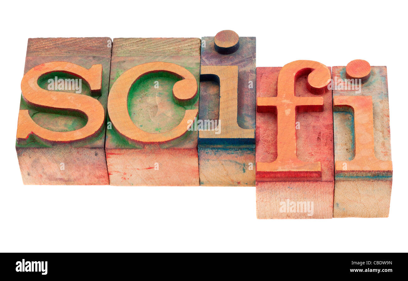 sci-fi - science fiction acronym in vintage wood letterpress printing blocks, stained by color inks, isolated on - Stock Image